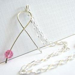 Breast Cancer Awareness Sterling Silver Handmade Ribbon Pendant