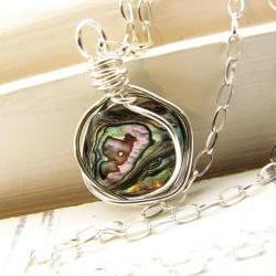 Paua Shell Necklace - Abalone Pendant, Sterling Silver Wire Wrapped Necklace, One of a Kind
